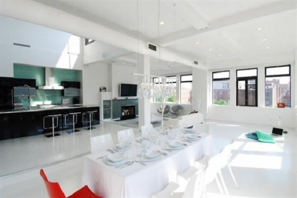 Black and White Apartment Interior Designs kitchen and dining room