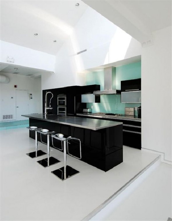 Black and White Apartment Interior Designs pantry view