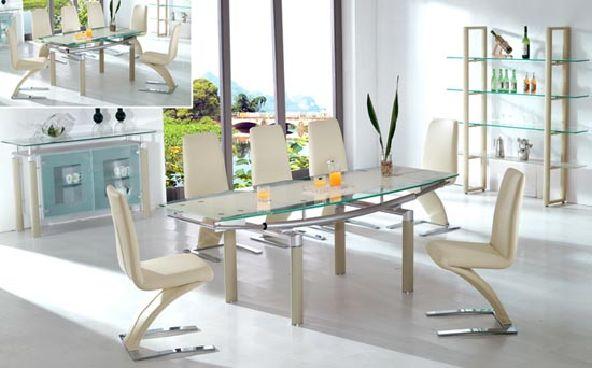 Ivory unique white dining room set