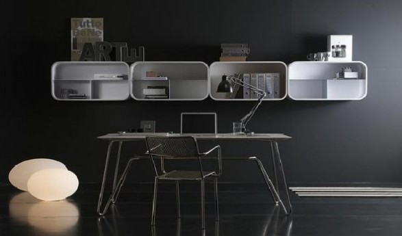 black and white curved shelving