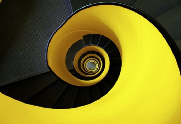 bright yellow spiral staircase