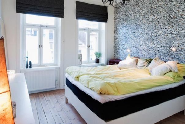 interior design bedroom using graphical wallpaper. Interior Design Ideas. Home Design Ideas