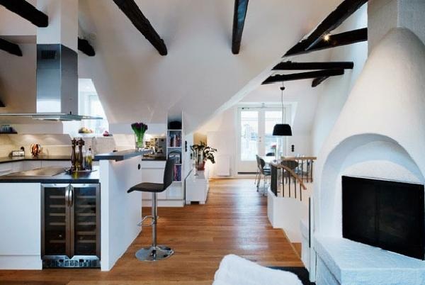 the loft has some wonderful curves that soften the space