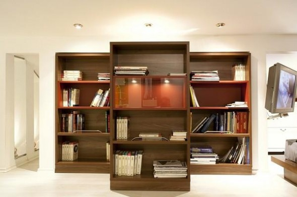 Brown Bookcase in SMall Apartment in Skopje, Macedonia