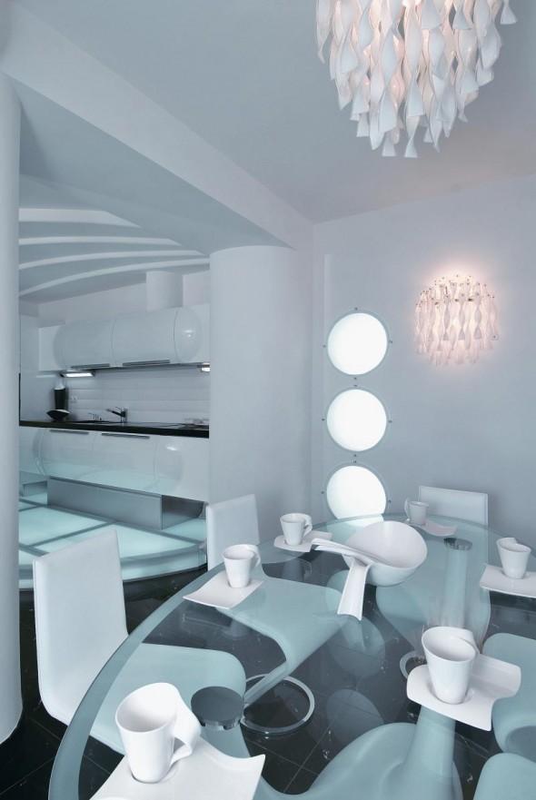 Dining Table at Futuristic Apartment Interior