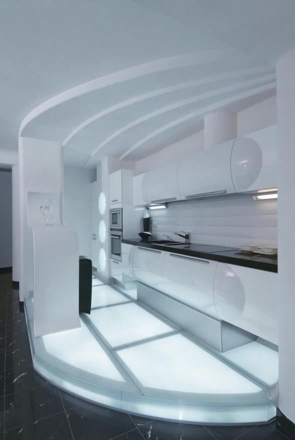 Kitchen at Futuristic Apartment Interior
