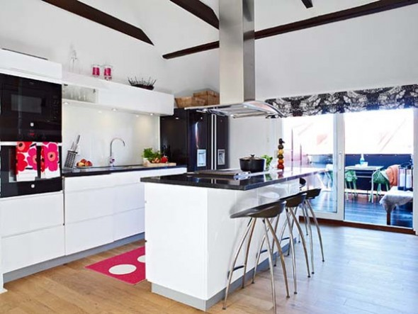 Modern Bright Apartment Home Decorating kitchen Design Ideas-kitchen