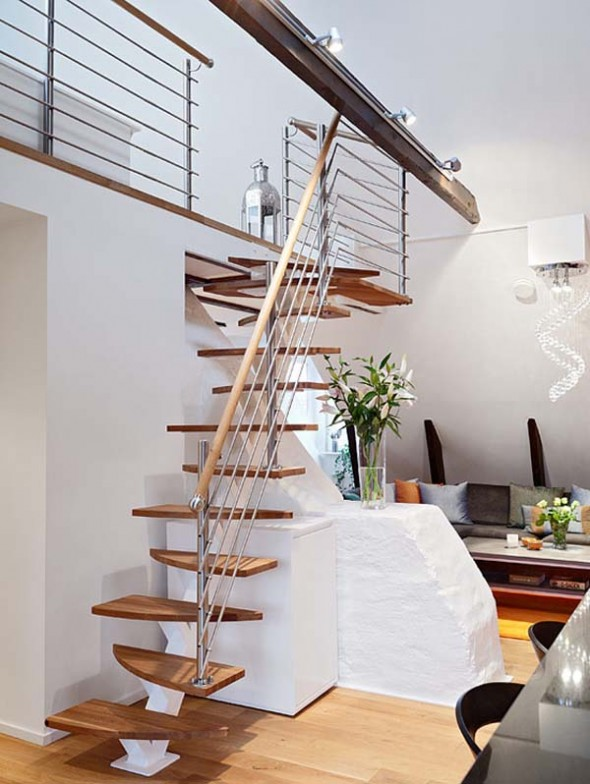 Modern Bright Apartment Home Decorating staircase Design Ideas