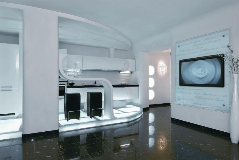 Modern Interior Design at Futuristic Apartment Interior