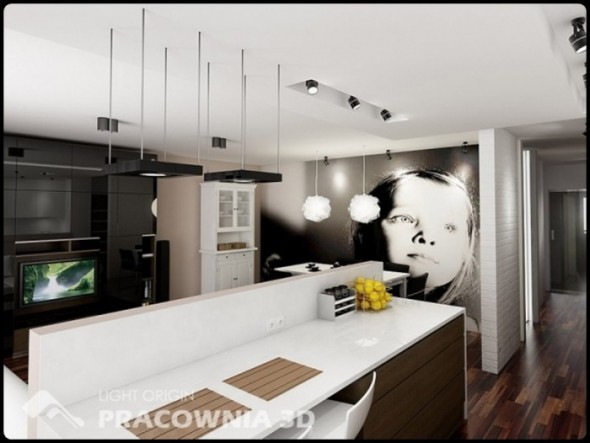 Artistic Kitchen Small Apartment Design by Pracownia 3D