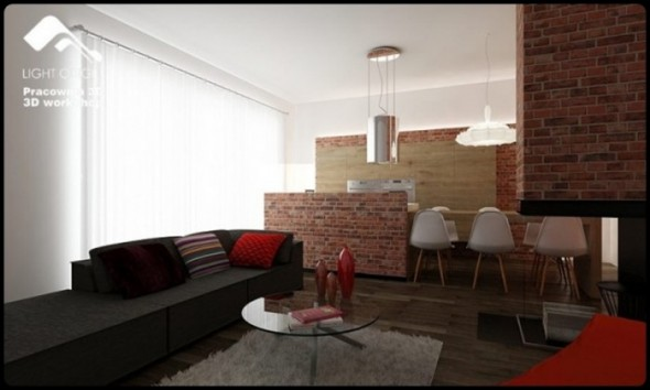 Black Sofas Living room Small Apartment Design by Pracownia 3D