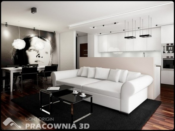 Black White Small Apartment Design by Pracownia 3D