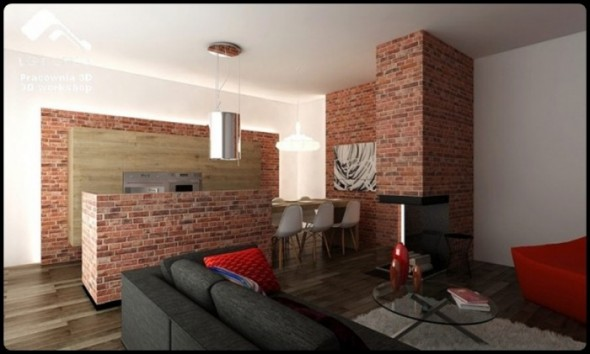 Brick Wall Theme Small Apartment Design by Pracownia 3D