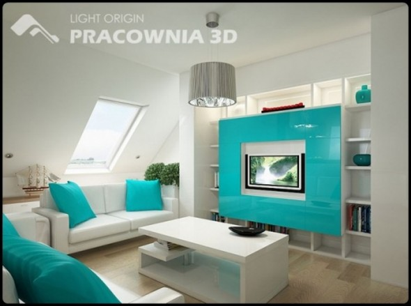 Bright Blue Themes Small Apartment Design by Pracownia 3D