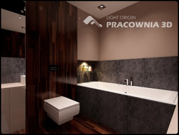 Brown Bathroom themes Small Apartment Design by Pracownia 3D