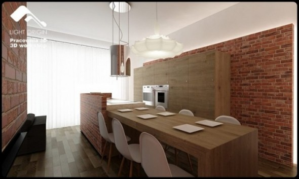 Country themes Small Apartment Design by Pracownia 3D