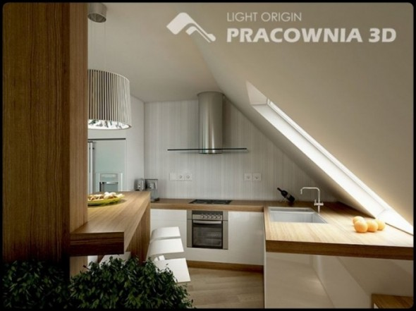 Elegant Kitchen Small Apartment Design by Pracownia 3D