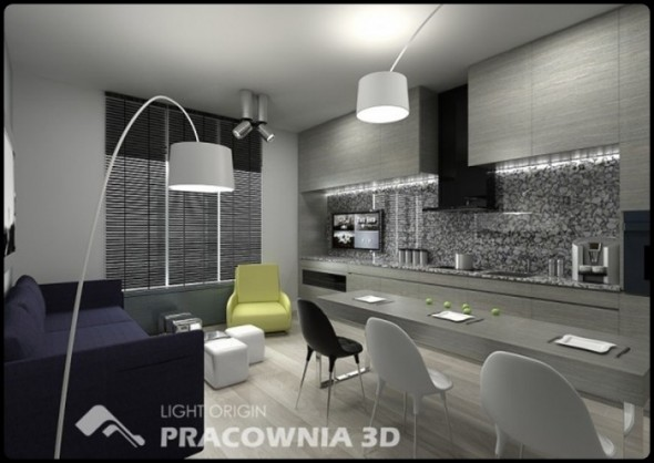 Modern Small Apartment Design by Pracownia 3D