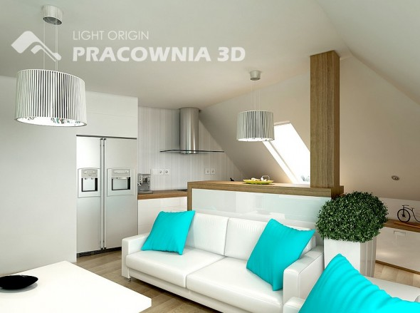 Turquoise accents living room by Pracownia 3D