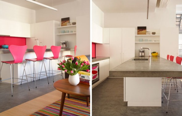 interior design a kitchen is equipped with a pink chair