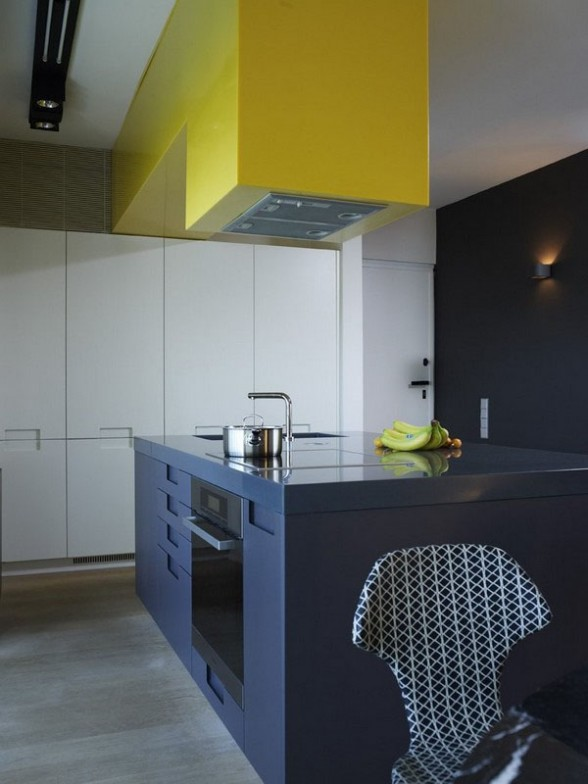 interior design modern minimalist kitchen with a mix of colors gray, white and yellow, aparment