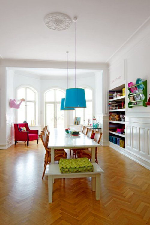 light apartment with bright furniture