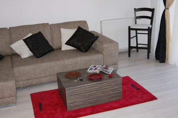 small and simple a living room with gray sofa and a cuboid table