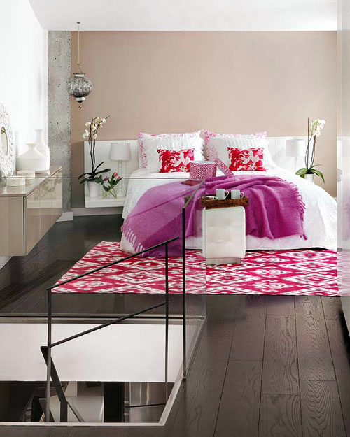 trendy Modern bedroom interior wiht pink rug Incredible Duplex Apartment Madrid