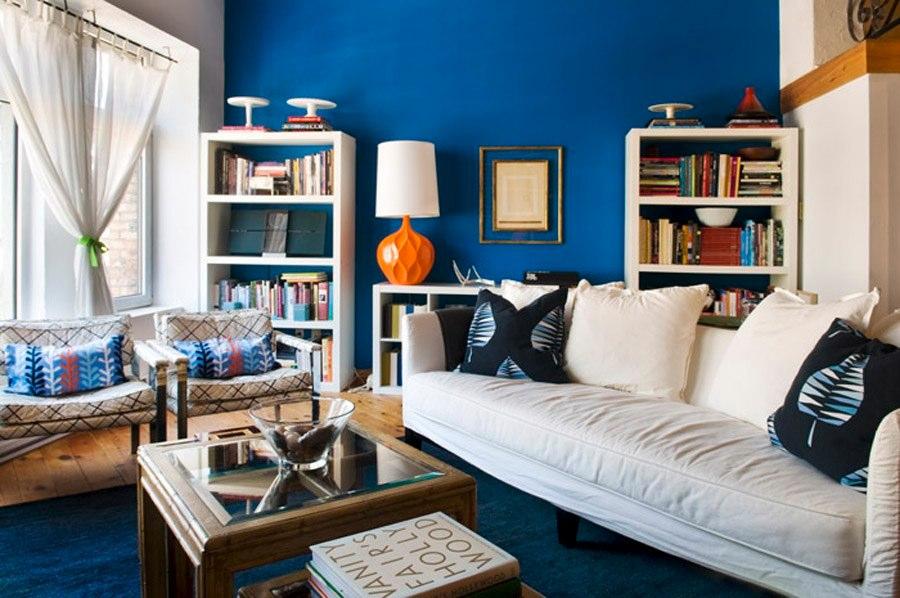 modern loft apartment interior design blue living room