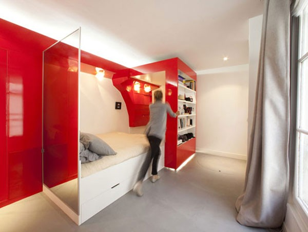 23 Square Meter Apartment in Paris called Red Nest Apt Interior02