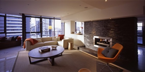 modern apartment melbourne fireplace
