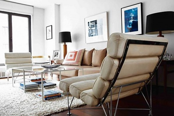 modern loft new york danish rug and sofa