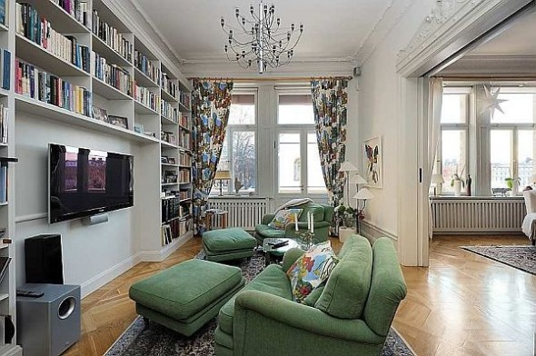Beautiful family room Traditional Swedish Apartment