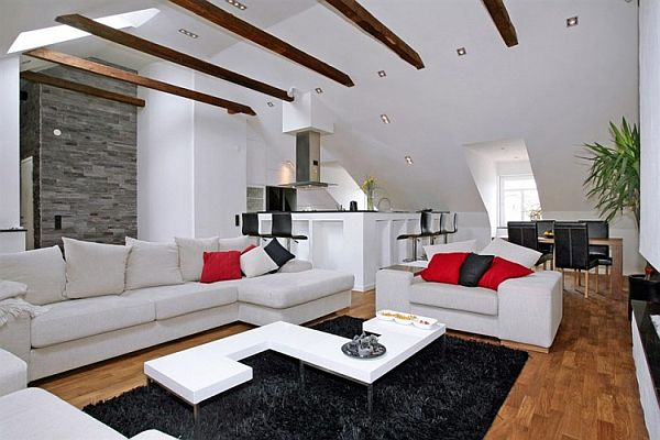 Living room sofa Penthouse Apartment in Stockholm