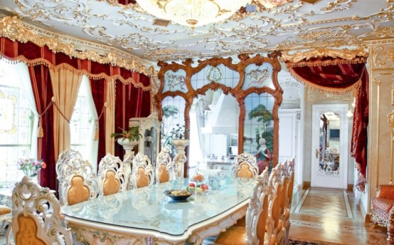 luxurious dining room rococo style apartment