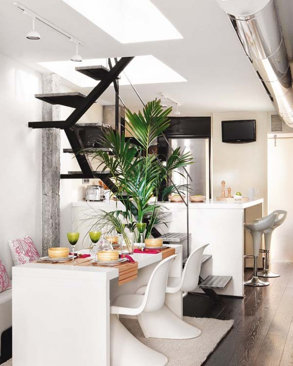 stair and dinner table Duplex Apartment in Central Madrid