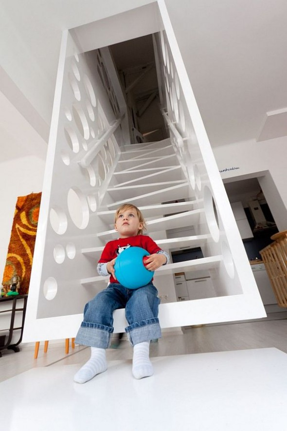 white Apartment With Creative Emmental Stairs
