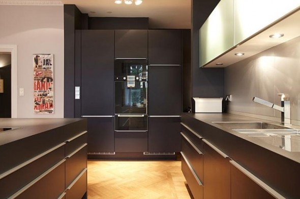 Apartment Design In Chocolate Shades Decorating-kitchen furniture