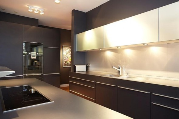 Apartment Design In Chocolate Shades Decorating-kitchen lighting