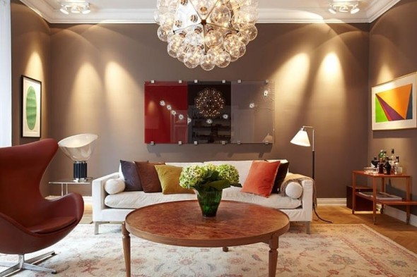Living Room Apartment Design In Chocolate Shades Decorating