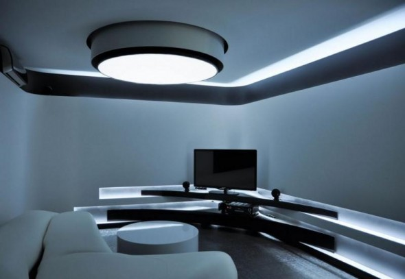modern apartment living room design with LED