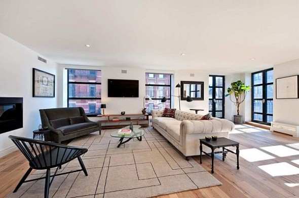 modern manhattan apartment tv sofa