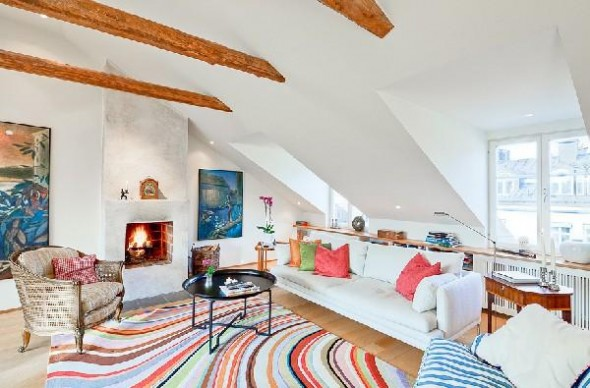 Colorful penthouse in Stockholm-attic
