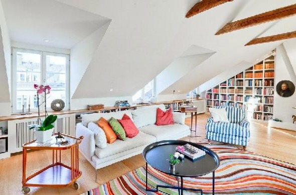 Colorful penthouse in Stockholm-attic-sofa