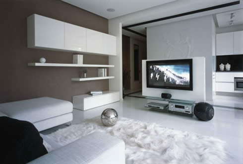 Modern Apartment Design Snowy Christmas Style by Erges-Living Room